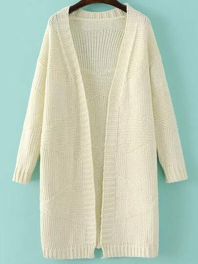 White Collarless Open Front Sweater Coat