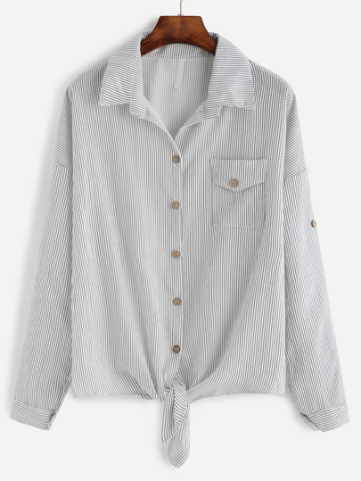 Contrast Vertical Striped Drop Shoulder Knotted Hem Shirt