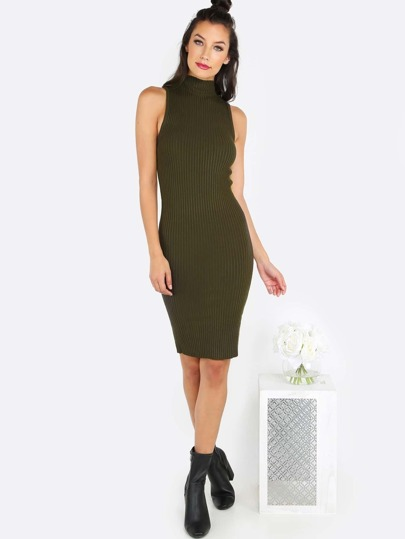 Sleeveless Ribbed Turtleneck Dress OLIVE