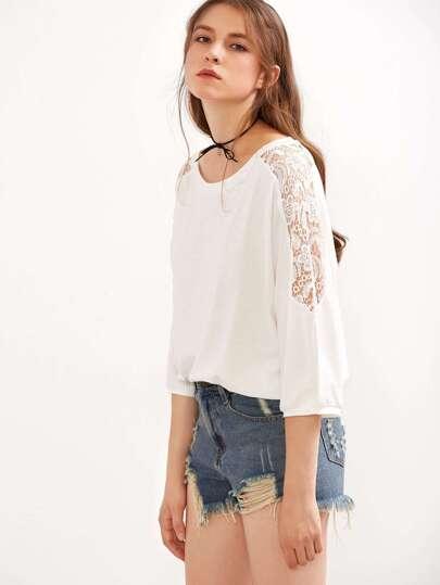 White Crochet Insert Hollow Out T-shirt