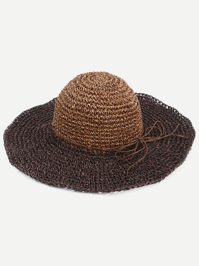 Coffee Bow Trim Large Brimmed Straw Hat