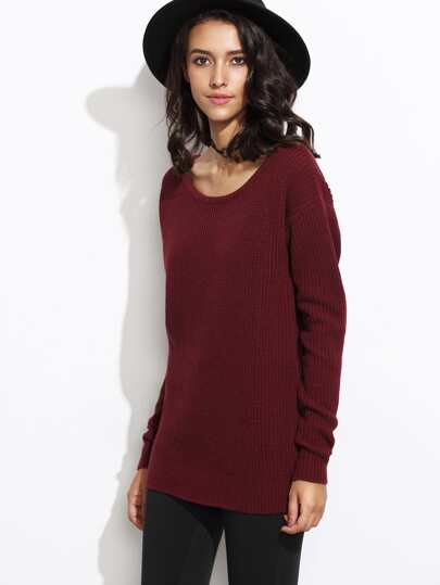 Scoop Neck Drop Shoulder Sweater