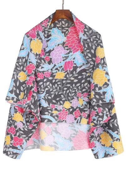 Kimono con estampado floral - multicolor