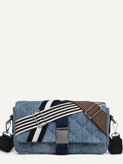 Blue Buckle Closure Striped Tape Detail Quilted Flap Bag