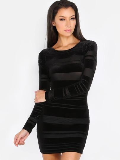 Striped Velvet Long Sleeve Dress BLACK