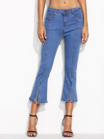 Blue Split Hem Flare Jeans