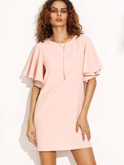 Pink Tied V Back Ruffle Sleeve Dress