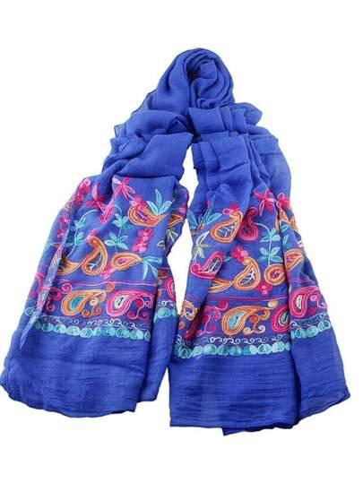 Foulard imprimé fleuri style bohémien - bleu foncé