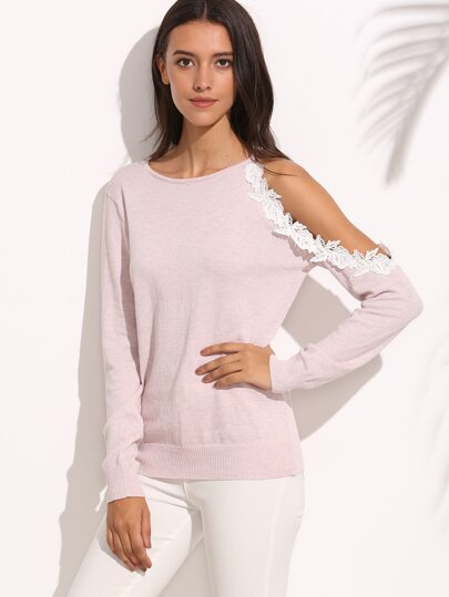Light Pink Knitted Cut Out Lace Long Sleeve T-shirt