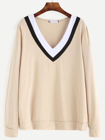Apricot Contrast Striped V Neck Sweatshirt