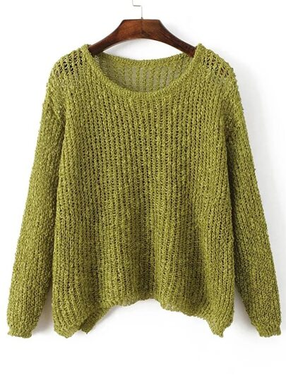 Army Green Hollow Out Long Sleeve Batwing Sweater