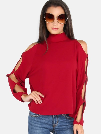 Turtleneck Open Sleeve Box Top WINE