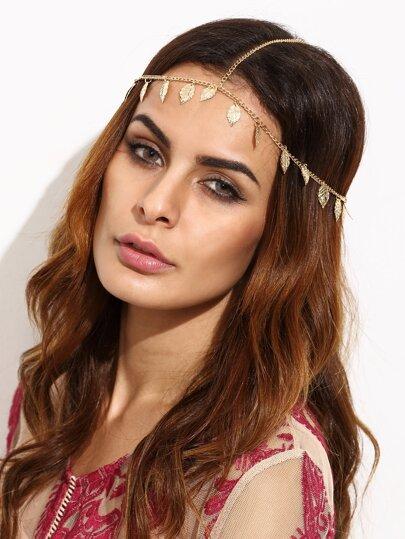 Accesorio para el pelo de cadena con hoja - dorado