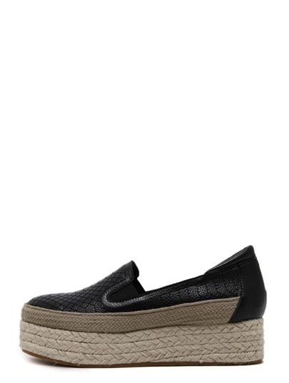 Black Quilted Round Toe Elastic Espadrille Wedges