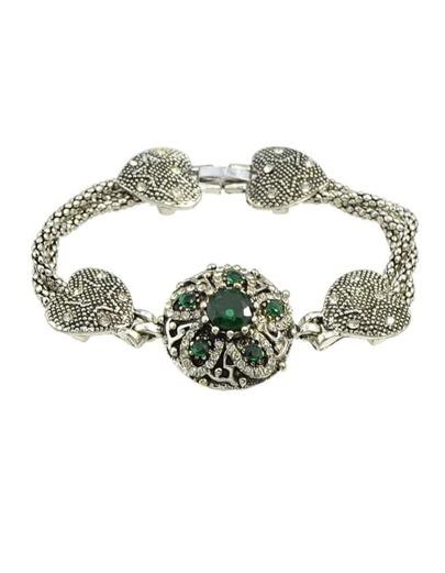 Green Rhinestone Heart Shape Bracelet