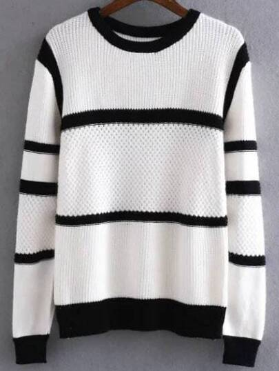 White Contrast Striped Ribbed Trim Knitwear