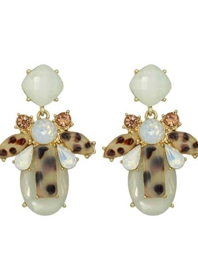 Acrylic Stone Flower Big Drop Earrings