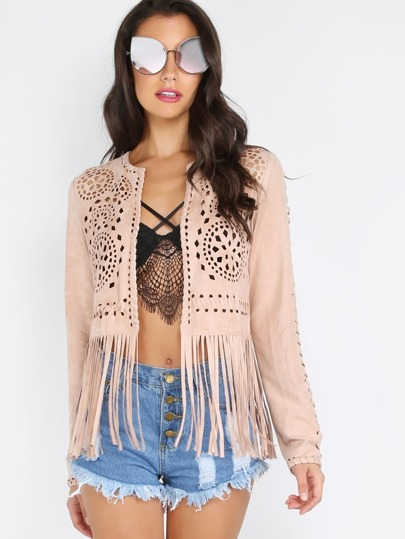 Cropped Suede Fringe Cut Out Jacket SAND