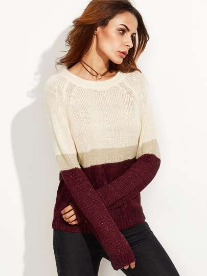Color Block Raglan Sleeve Sweater