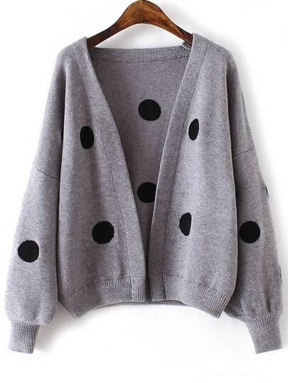 Grey Polka Dot Lantern Sleeve Open Front Sweater Coat