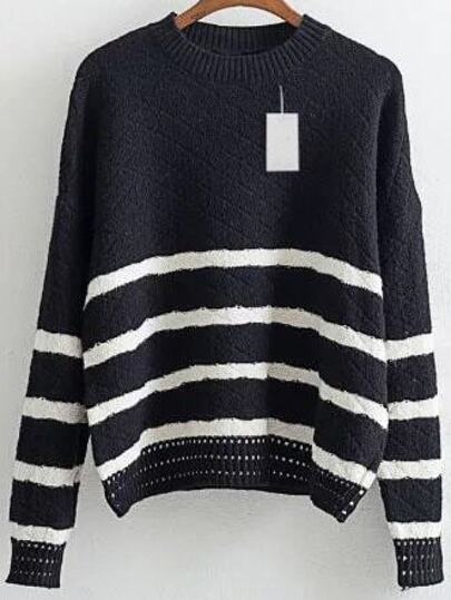 Black Striped Crew Neck Drop Shoulder Loose Sweater