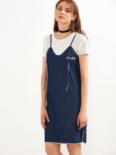 Blue Embroidered Contrast Trim Slit Side Denim Slip Dress