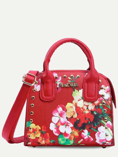 Red Flower Print Studded Structured Satchel Bag