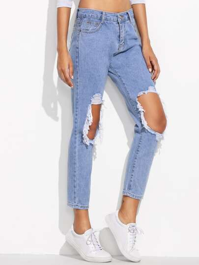 Blue Distressing Ripped Knees Jeans