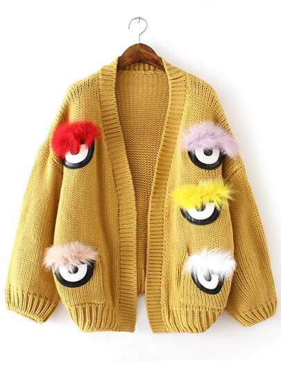 Yellow Feather Eye Embellished Sweater Coat