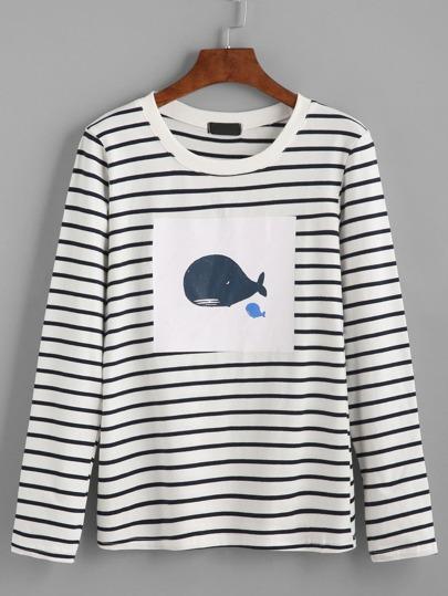 Black Striped Whale Print T-shirt