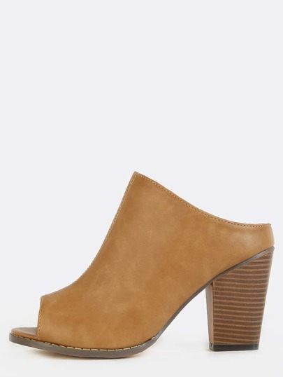 Backless Chunky Heel Mules NUDE