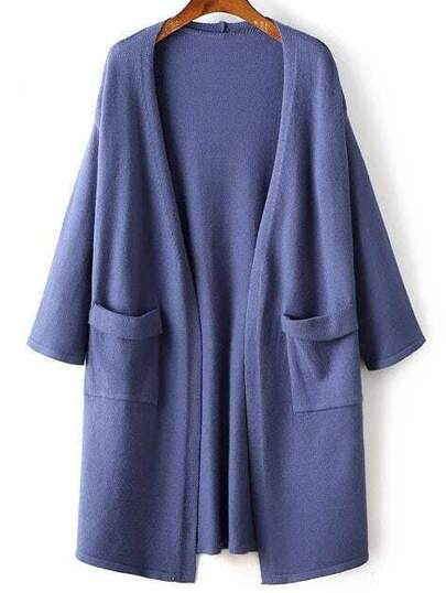 Blue Drop Shoulder Rolled Cuff Long Cardigan With Pockets