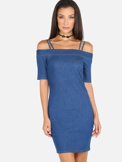 Cold Shoulder Denim Dress DENIM