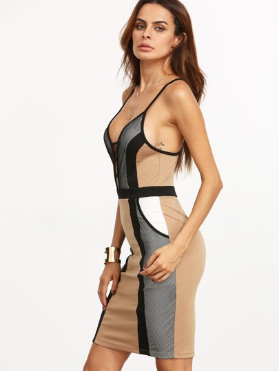 Colorblock Spaghetti Strap Racer-back Split Sheath Bandage Dress