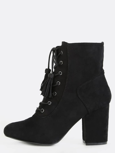 Faux Suede Tassel Ankle Booties BLACK