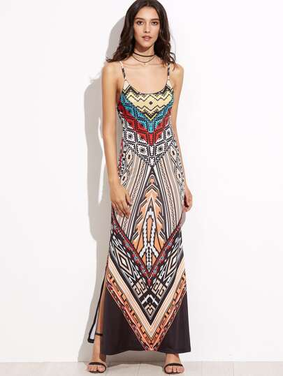 Geometric Print Cutout Back Slit Side Slip Dress