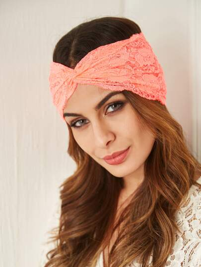 Pink Lace Twist Headband