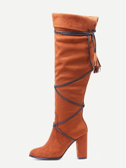 Light Brown Faux Suede Fringe Fold Over Boots