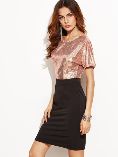 Contrast Sequin Top 2 In 1 Sheath Dress