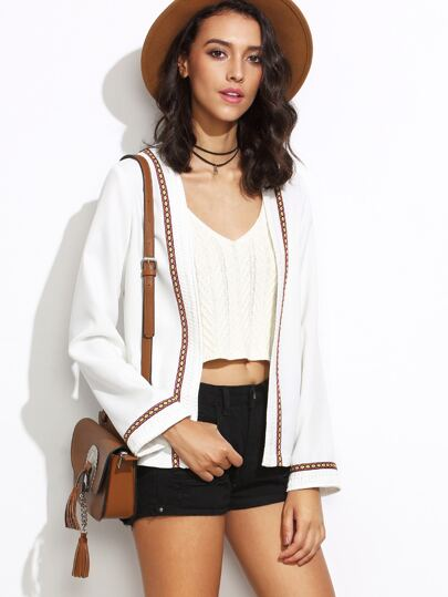 White Collarless Open Front Blazer With Embroidered Tape Detail