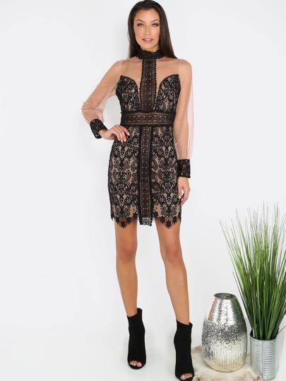 Crochet Mesh Lace Dress BLACK