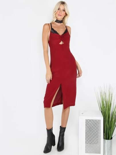 Ruched Spaghetti Strap Shift Dress WINE