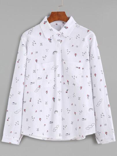 White Drawing Print Pockets Shirt