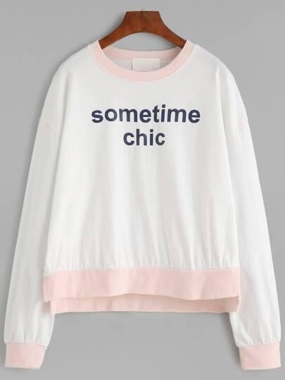 White Letter Print Slit Side High Low Sweatshirt