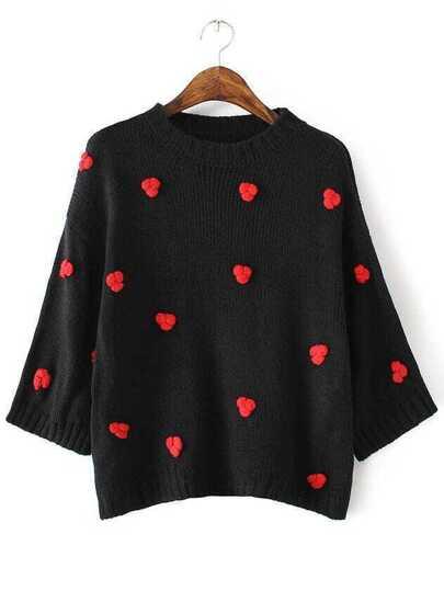 Black Flower Embellished Drop Shoulder Sweater