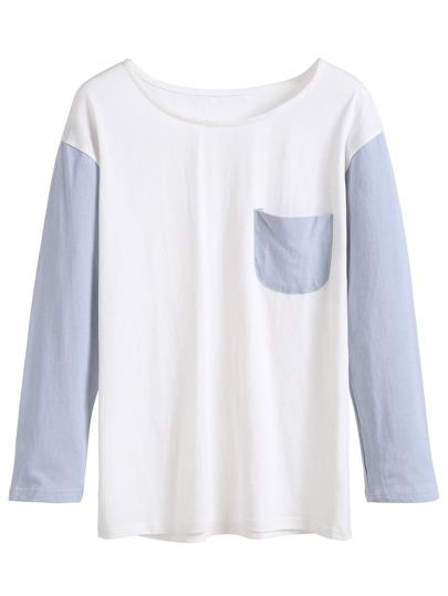 White Contrast Sleeve Pocket T-shirt