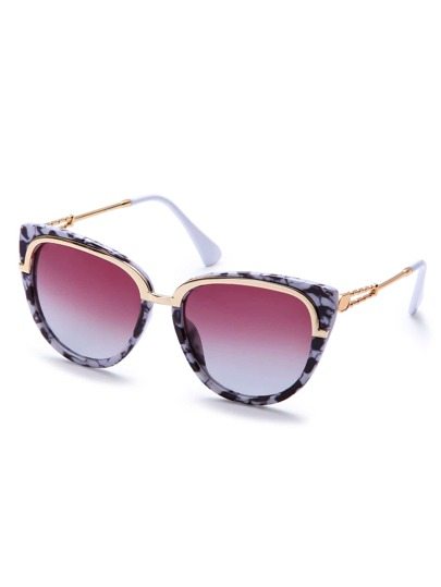 Black And White Marble Frame Metal Trim Cat Eye Sunglasses