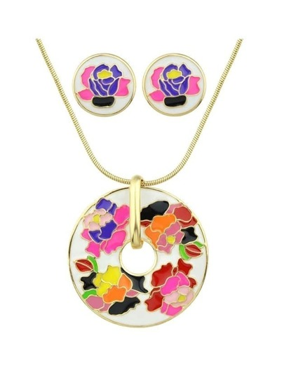 White Flower Print Round Pendant Necklace Earrings Set