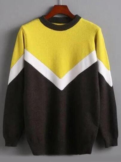 Color Block Jersey Sweater