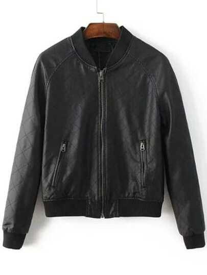Black Diamond Pattern PU Bomber Jacket